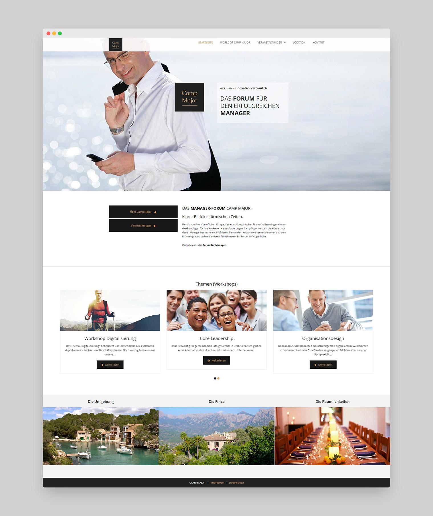 Camp Major Webdesign