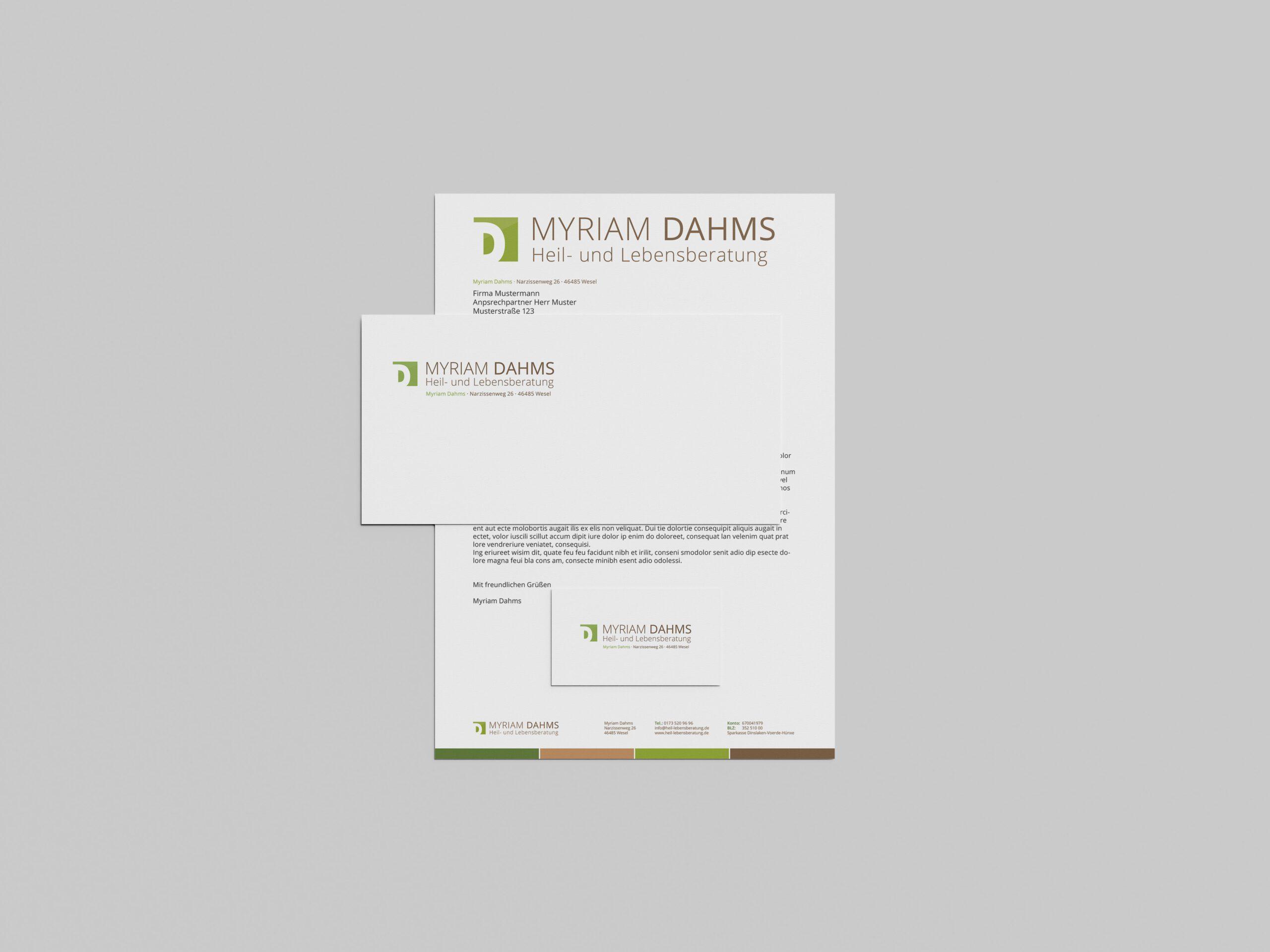 Myriam Dahms Lebensberatung - Geschäftspapiere